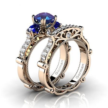 Italian-14K-Rose-Gold-1-0-Carat-Alexandrite-Blue-Sapphire-Diamond-Three-Stone-Engagement-Ring-Wedding-Band-Set-G1108S-14KRGDBSAL-P