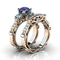 Italian 14K Rose Gold 1.5 Ct Alexandrite Blue Topaz Diamond Three Stone Engagement Ring Wedding Band Set G1108S-14KRGDBTAL