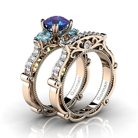 Italian-14K-Rose-Gold-1-0-Carat-Alexandrite-Blue-Topaz-Diamond-Three-Stone-Engagement-Ring-Wedding-Band-Set-G1108S-14KRGDBTAL-P