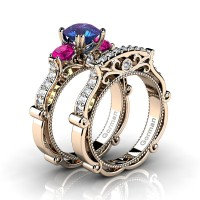 Italian 14K Rose Gold 1.5 Ct Alexandrite Pink Sapphire Diamond Three Stone Engagement Ring Wedding Band Set G1108S-14KRGDPSAL