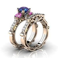 Italian 14K Rose Gold 1.5 Ct Alexandrite Pink Topaz Diamond Three Stone Engagement Ring Wedding Band Set G1108S-14KRGDPTAL