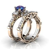 Italian 14K Rose Gold 1.5 Ct Alexandrite White Sapphire Diamond Three Stone Engagement Ring Wedding Band Set G1108S-14KRGDWSAL