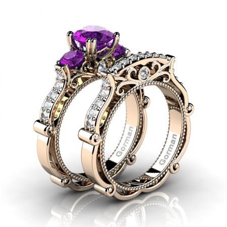 Italian 14K Rose Gold 1.5 Ct Amethyst Diamond Three Stone Engagement Ring Wedding Band Set G1108S-14KRGDAM