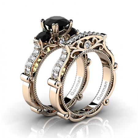 Italian-14K-Rose-Gold-1-0-Carat-Black-Diamond-Three-Stone-Engagement-Ring-Wedding-Band-Set-G1108S-14KRGDBD-P