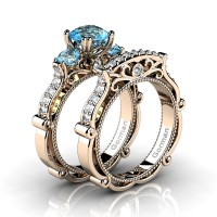Italian 14K Rose Gold 1.5 Ct Blue Topaz Diamond Three Stone Engagement Ring Wedding Band Set G1108S-14KRGDBT