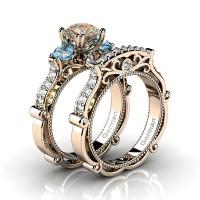 Italian 14K Rose Gold 1.5 Ct Champagne Diamond Blue Topaz Three Stone Engagement Ring Wedding Band Set G1108S-14KRGDBTCHD