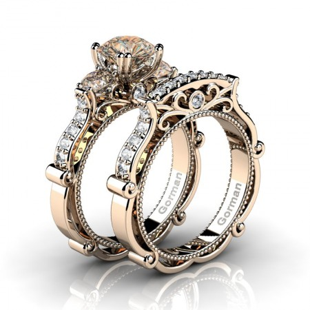 Italian-14K-Rose-Gold-1-0-Carat-Champagne-and-White-Diamond-Three-Stone-Engagement-Ring-Wedding-Band-Set-G1108S-14KRGDCHD-P