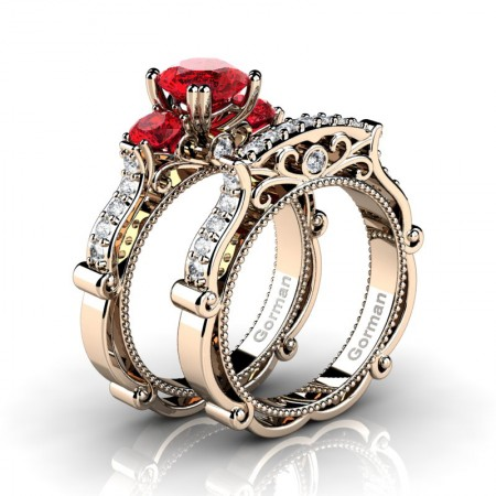 Italian-14K-Rose-Gold-1-0-Carat-Ruby-Diamond-Three-Stone-Engagement-Ring-Wedding-Band-Set-G1108S-14KRGDR-P