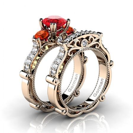 Italian 14K Rose Gold 1.5 Ct Ruby Orange Sapphire Diamond Three Stone Engagement Ring Wedding Band Set G1108S-14KRGDOSR