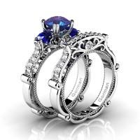 Italian 14K White Gold 1.5 Ct Alexandrite Blue Sapphire Diamond Three Stone Engagement Ring Wedding Band Set G1108S-14KWGDBSAL