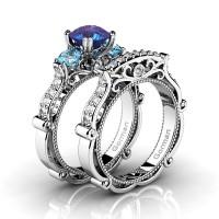 Italian 14K White Gold 1.5 Ct Alexandrite Blue Topaz Diamond Three Stone Engagement Ring Wedding Band Set G1108S-14KWGDBTAL