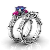 Italian 14K White Gold 1.5 Ct Alexandrite Pink Sapphire Diamond Three Stone Engagement Ring Wedding Band Set G1108S-14KWGDPSAL