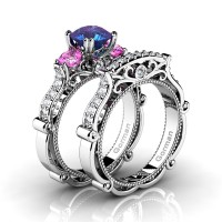 Italian 14K White Gold 1.5 Ct Alexandrite Pink Topaz Diamond Three Stone Engagement Ring Wedding Band Set G1108S-14KWGDPTAL