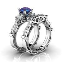 Italian 14K White Gold 1.5 Ct Alexandrite White Sapphire Diamond Three Stone Engagement Ring Wedding Band Set G1108S-14KWGDWSAL