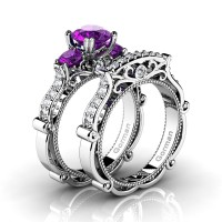 Italian 14K White Gold 1.5 Ct Amethyst Diamond Three Stone Engagement Ring Wedding Band Set G1108S-14KWGDAM