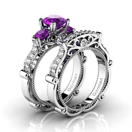 Italian 14K White Gold 1.5 Ct Amethyst Diamond Three Stone Engagement Ring Wedding Band Set G1108S-14KWGDAM