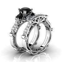 Italian 14K White Gold 1.5 Ct Black and White Diamond Three Stone Engagement Ring Wedding Band Set G1108S-14KWGDBD