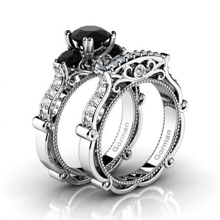 Italian-14K-White-Gold-1-0-Carat-Black-Diamond-Three-Stone-Engagement-Ring-Wedding-Band-Set-G1108S-14KWGDBD-P