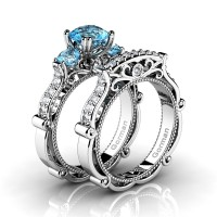 Italian 14K White Gold 1.5 Ct Blue Topaz Diamond Three Stone Engagement Ring Wedding Band Set G1108S-14KWGDBT
