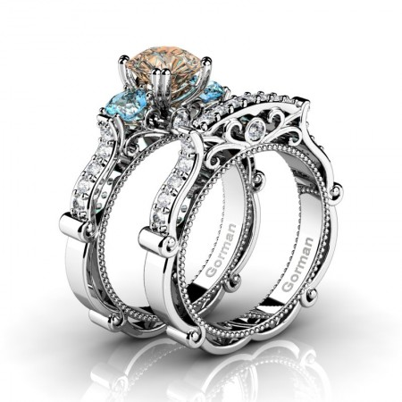 Italian 14K White Gold 1.5 Ct Champagne Diamond Blue Topaz Three Stone Engagement Ring Wedding Band Set G1108S-14KWGDBTCHD