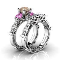 Italian 14K White Gold 1.5 Ct Champagne Diamond Pink Topaz Three Stone Engagement Ring Wedding Band Set G1108S-14KWGDPTCHD