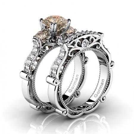 Italian-14K-White-Gold-1-0-Carat-Champagne-Diamond-Three-Stone-Engagement-Ring-Wedding-Band-Set-G1108S-14KWGDCHD-P