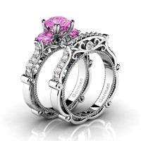 Italian 14K White Gold 1.5 Ct Pink Topaz Diamond Three Stone Engagement Ring Wedding Band Set G1108S-14KWGDPT