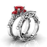 Italian 14K White Gold 1.5 Ct Ruby Diamond Three Stone Engagement Ring Wedding Band Set G1108S-14KWGDR