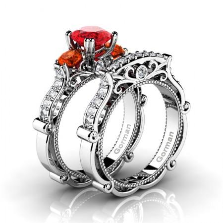 Italian 14K White Gold 1.5 Ct Ruby Orange Sapphire Diamond Three Stone Engagement Ring Wedding Band Set G1108S-14KWGDOSR