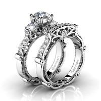 Italian 14K White Gold 1.5 Ct White Sapphire Diamond Three Stone Engagement Ring Wedding Band Set G1108S-14KWGDWS