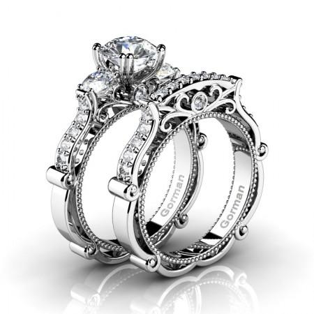 Italian-14K-White-Gold-1-0-Carat-White-Sapphire-Diamond-Three-Stone-Engagement-Ring-Wedding-Band-Set-G1108S-14KWGDWS2
