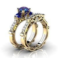 Italian 14K Yellow Gold 1.5 Ct Alexandrite Blue Sapphire Diamond Three Stone Engagement Ring Wedding Band Set G1108S-14KYGDBSAL