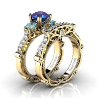 Italian 14K Yellow Gold 1.5 Ct Alexandrite Blue Topaz Diamond Three Stone Engagement Ring Wedding Band Set G1108S-14KYGDBTAL