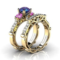 Italian 14K Yellow Gold 1.5 Ct Alexandrite Pink Topaz Diamond Three Stone Engagement Ring Wedding Band Set G1108S-14KYGDPTAL