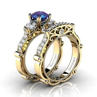 Italian 14K Yellow Gold 1.5 Ct Alexandrite White Sapphire Diamond Three Stone Engagement Ring Wedding Band Set G1108S-14KYGDWSAL