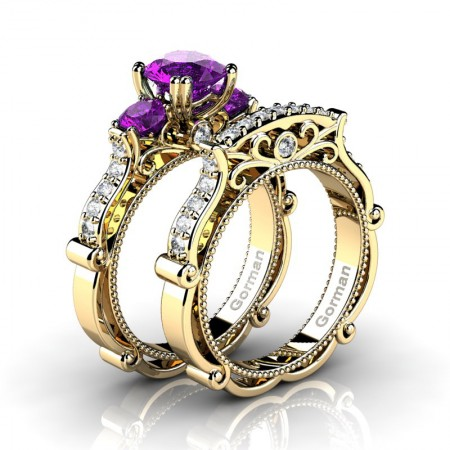 Italian 14K Yellow Gold 1.5 Ct Amethyst Diamond Three Stone Engagement Ring Wedding Band Set G1108S-14KYGDAM