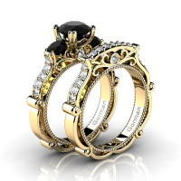 Italian 14K Yellow Gold 1.5 Ct Black and White Diamond Three Stone Engagement Ring Wedding Band Set G1108S-14KYGDBD
