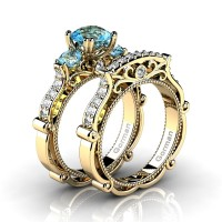 Italian 14K Yellow Gold 1.5 Ct Blue Topaz Diamond Three Stone Engagement Ring Wedding Band Set G1108S-14KYGDBT