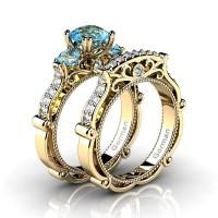 Italian 14K Yellow Gold 1.5 Ct Blue Topaz Diamond Three Stone Engagement Ring Wedding Band Set G1108S-14KYGDBT