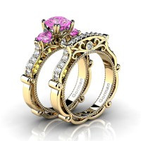 Italian 14K Yellow Gold 1.5 Ct Pink Topaz Diamond Three Stone Engagement Ring Wedding Band Set G1108S-14KYGDPT