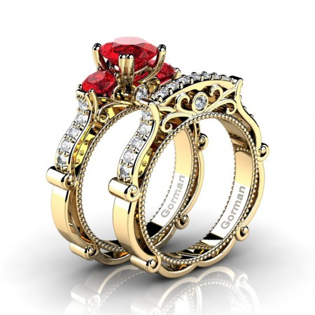 Italian 14K Yellow Gold 1.5 Ct Ruby Diamond Three Stone Engagement Ring Wedding Band Set G1108S-14KYGDR