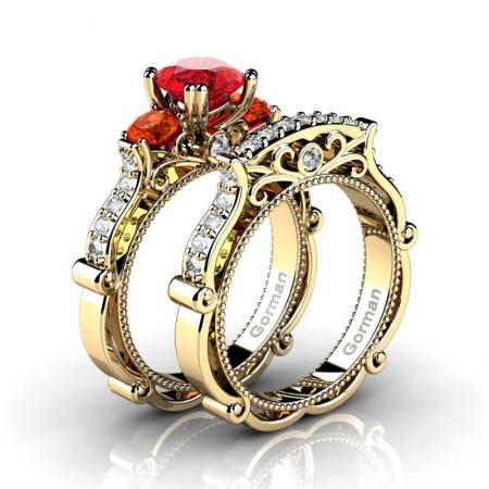 Italian 14K Yellow Gold 1.5 Ct Ruby Orange Sapphire Diamond Three Stone Engagement Ring Wedding Band Set G1108S-14KYGDOSR