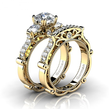 Italian 14K Yellow Gold 1.5 Ct White Sapphire Diamond Three Stone Engagement Ring Wedding Band Set G1108S-14KYGDWS