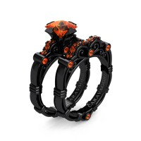 Art Masters Caravaggio 14K Black Gold 1.25 Ct Princess Orange Sapphire Engagement Ring Wedding Band Set R623PS-14KBGOS