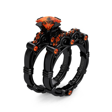 Art-Masters-Caravaggio-14K-Black-Gold-1-25-Carat-Princess-Orange-Sapphire-Engagement-Ring-Wedding-Band-Set-R623PS-14KBGOS-P