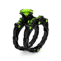 Art Masters Caravaggio 14K Black Gold 1.25 Ct Princess Peridot Engagement Ring Wedding Band Set R623PS-14KBGP