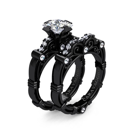 Art-Masters-Caravaggio-14K-Black-Gold-1-25-Carat-Princess-White-Topaz-Diamond-Engagement-Ring-Wedding-Band-Set-R623PS-14KBGDWT-P