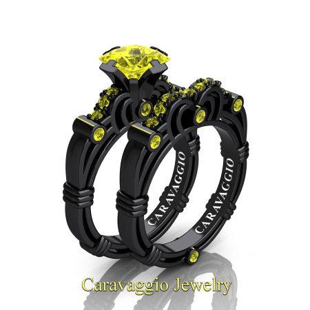 Art-Masters-Caravaggio-14K-Black-Gold-1-25-Carat-Princess-Yellow-Sapphire-Engagement-Ring-Wedding-Band-Set-R623PS-14KBGYS-P2