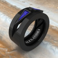 Mens Avant Garde 14K Black Gold 1.0 Ct Triangle Blue Sapphire Wedding Ring A1011-14KBGBS