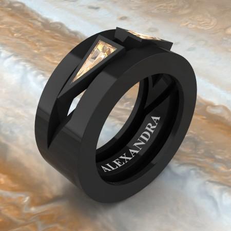 Alexandra-Jewelry-Mens-Avant-Garde-14K-Black-Gold-Triangle-Champagne-Diamond-Apollo-Wedding-Ring-A1011-14KBGCHD-P2